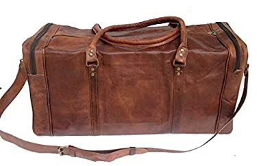"24"" Men's genuine vintag Leather large duffle travel gym weekend overnight bag"