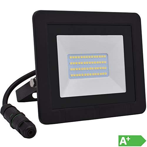 Lumare LED Strahler 20W Extraflach Flutlicht IP65 3000k für außen und innen inkl. IP68 Stromverbinder warmweiß