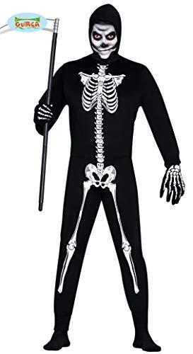 Skelett Anzug Halloween Horror Party Kostüm Herren Knochen Schwarz weiß Gr. M-L, Größe:M