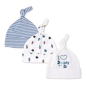 CuteOn 3 Paquete Bebé Beanie Nudo Sombrero Recién Nacido Chicos Chicas Algodón Ajustable Gorra para Bebé 2-8 Meses 7