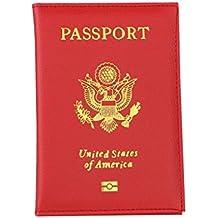 Bolso, Manadlian Pasaporte Monedero Protector Tarjeta de visita Soft Passport Cover (9.8cm(L)*1cm(W)*14.2cm(H), Rojo)