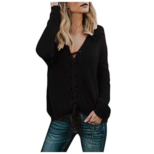 Maleya Damenmode mit V-Ausschnitt Tasten mit langärmeligen Strickpullover Bluse Outwear Mit Tasche Strickjacke um Lose Gestrickte Feste Pullover Bluse Pullover-Sweatshirt-Kleid Blusen um Plus Size -