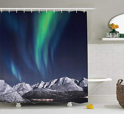 Duschvorhang,Sky Decor Shower Curtain Northern Lights Aurora Over Fjords Mountain at Night Norway Solar Image Fabric Bathroom Decor Set with Hooks Green Dark Blue 60X72 Inch - Nights Northern Bettwäsche