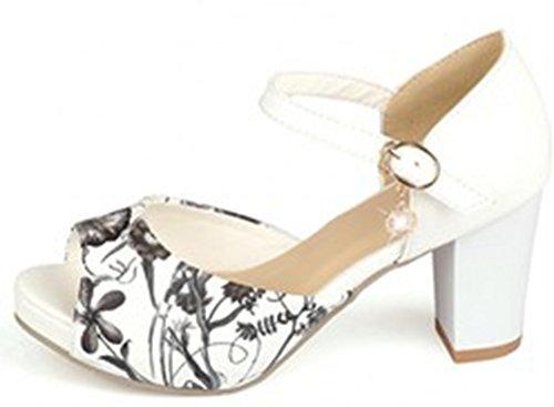 Aisun Damen Süß Peep Toe Blume Muster Offen Strass Knöchelriemen Pumps Sandalen Weiß