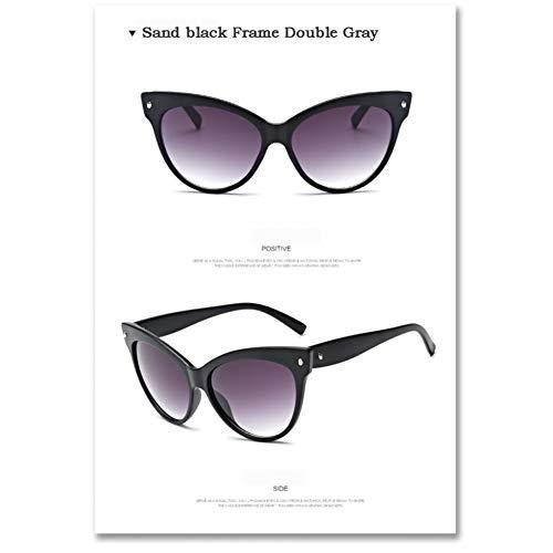 Taiyangcheng Gafas de sol Con ojo de gato Moda para Mujer Gafas de sol Gafas,Arena Negro gris