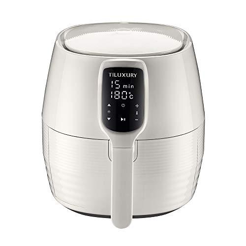 TILUXURY Heißluftfritteuse Airfryer XL (1400 Watt, Aerofryer mit digitalem Display, ohne Öl, einfach zu reinigen, 3 Liter) - Weiß