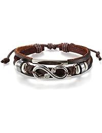 JewelryWe Pulseras para Hombre Mujer, Infinito Infinity con Circonitas, Pulsera de Cuero Trenzada Cordon Tribal, Negro Marrón Ajustable