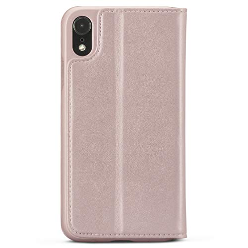 CASEZA Funda iPhone XR Rosa Oro Tipo Libro Piel PU Case Cover