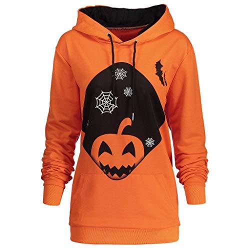 URSING Damen Sweatshirt mit Kapuze Halloween Kürbis Gedruckt Hoodie Sweatshirt Tops mit Tunnelzug und Tasche Frauen Sport Pullover Kapuzenpullover Retro Kapuzenshirt Streetwear (Orange,XL)