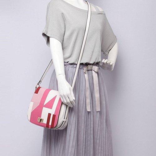 Miss LuLu Damen Tasche PU Leder Schultertasche Handtasche Cross Body lässiger Stil (LT1663-Blau) LT1663-Rosa