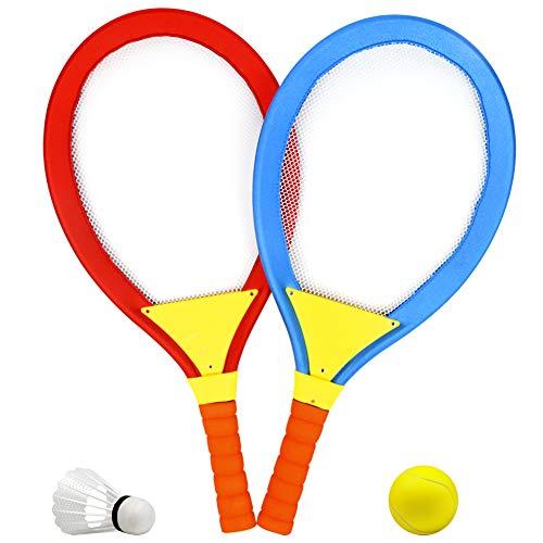 Racchetta Tennis Bambino Badminton Racchette per Bambini 2 in 1 Badminton Tennis Set Giochi Allaperto per Bambini 3 4 5 Anni