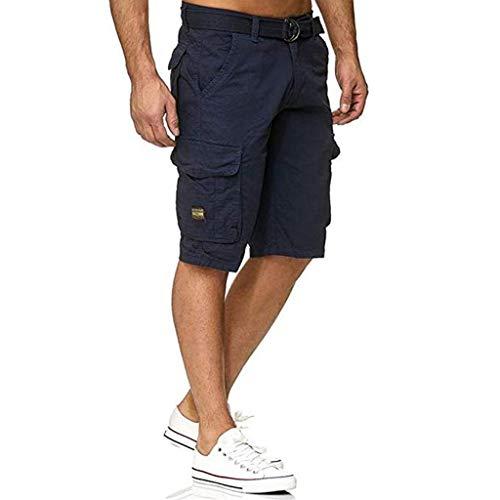 Dasongff Herren Hose Cargo Kurz Locker Jogging Pants mit Taschen und Gürtel SweatshortsGym JogginghoseStreetwear Arbeitshose Jagdhose Cargohose -