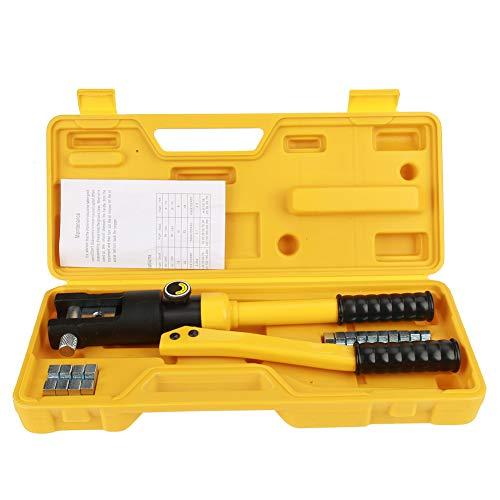 Cocoarm 10T Crimpzange 10~120mm² Crimpwerkzeuge Hydraulische Presszange Kabelschuhe Zange Crimper Terminal mit Box (Gelb) - Batterie Terminal Crimper
