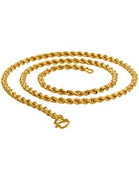 22k Gold Plated Rope Chain Designer For Men And Women Unisex Necklace