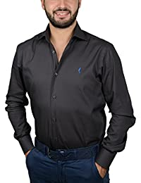 "DOMENICO AMMENDOLA, Camicia da Uomo ""Titanio"" grigia, cotone 100%, Regular Fit, collo francese largo, Made in Italy"