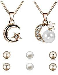 Lorsoul Cadena de Moda de la Boda del Rhinestone espumoso Estrella Luna Colgante Collar de la Muchacha de Las Mujeres con la joyería de Perlas Regalo