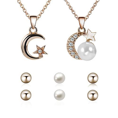Pegcdu Funkelnder Strass Stern-Mond-Anhänger-Halskette Mädchen Hochzeit Kette mit nachgemachten Perlen-Ohrringe Schmuck-Set