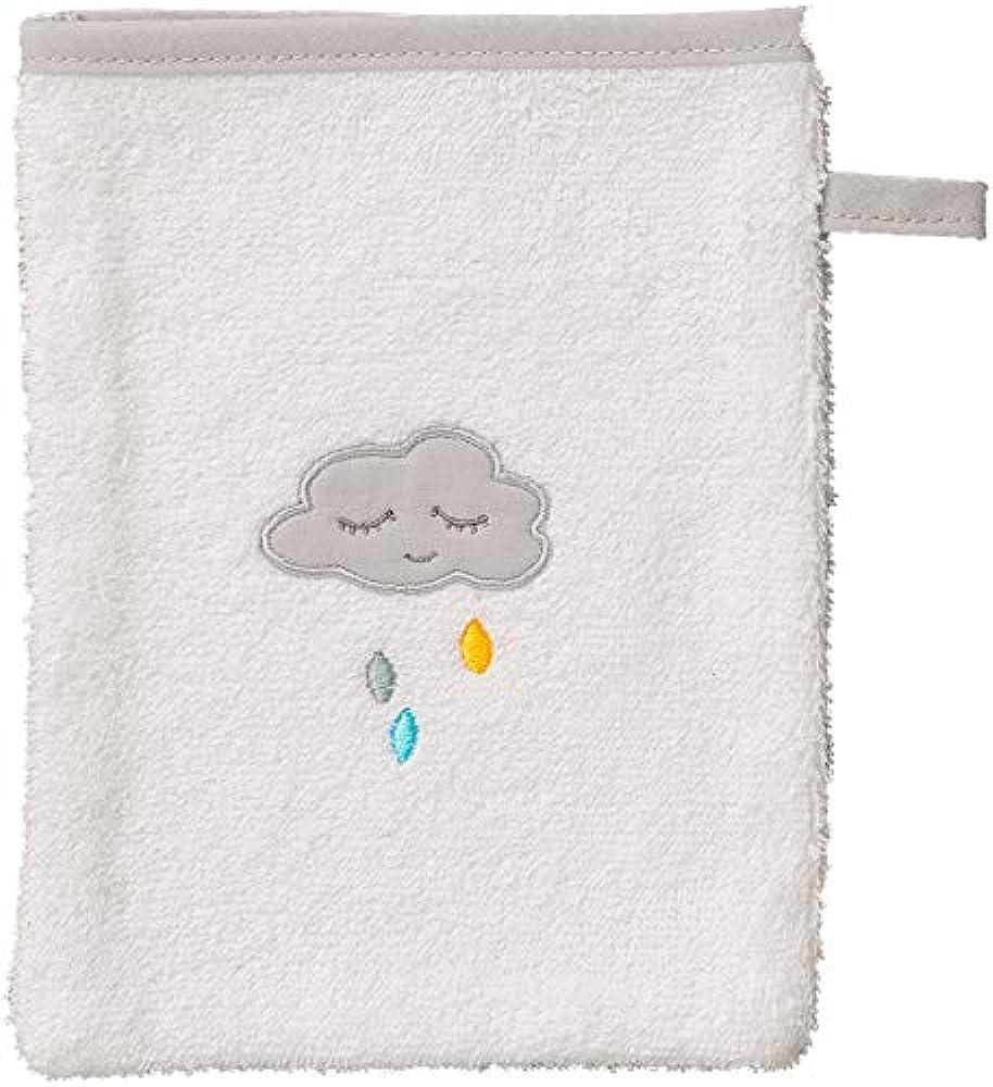 Smithy Waschhandschuh-Waschlappen Motiv Wolke, Farbe weiß, 100% Baumwolle
