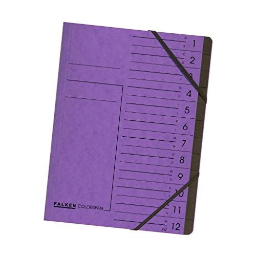 Falken Premium Ordnungsmappe aus extra starkem Colorspan-Karton DIN A4 12 Fächer und 2 Gummizüge...