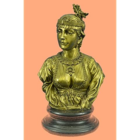 Statua di bronzo Scultura...Spedizione Gratuita...Egyptian Lady Le Caire Con Cordier femminile busto(STE-581C-EU)Statue Figurine Figurine Nude per ufficio e casa Décor Primo Giorno Collezionismo