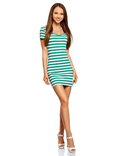 oodji Ultra Damen Enges Jersey-Kleid, Grün, DE 38 / EU 40 / M Mini-print-jersey
