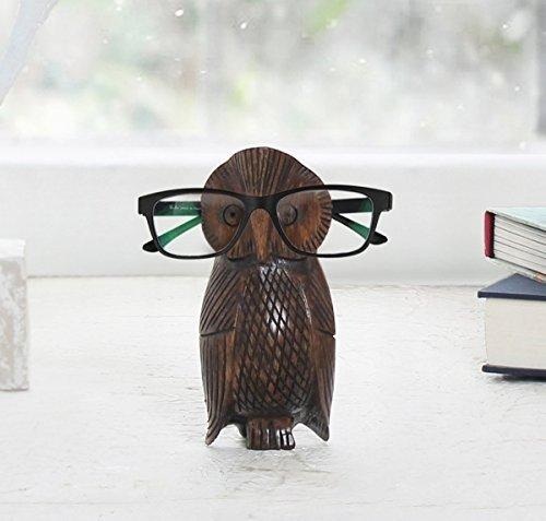 Weihnachtsgeschenk-holzerner Brillen-Schauspiel-Halter-Ausstellungsstand-Ausgang Dekoratives (Brown 5) + mit freiem Bookmark (Brillen-halter Eule)