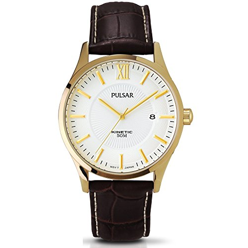 Pulsar Kinetic White Dial Gold Plated Case Brown Leather Strap Gents Watch PAR182X1