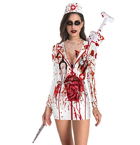 Kostüm Krankenschwester Zombie Übergröße - WSJ Halloween-Kostüme für Frauen, Krankenschwester-Zombie-runder Hals-dünnes langärmliges Kleid der Frauen - reizvolle Kostüm-Overall-Frau für Nachttour Straßen-Kostüm,S