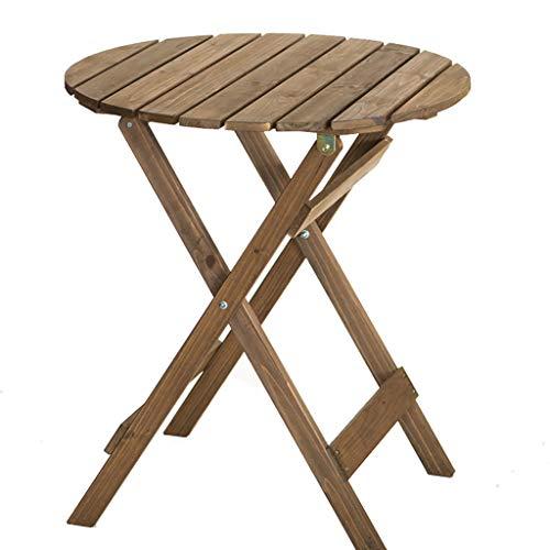 JKL- Notebookständer Kleiner runder tragbarer Klapptisch und Stühle Balkon Garten Kaffee Runder Tisch Holz Couchtisch, 62.5x62.5x71cm (Color : Desk) (Tisch Kaffee Mit Runder Stühlen)