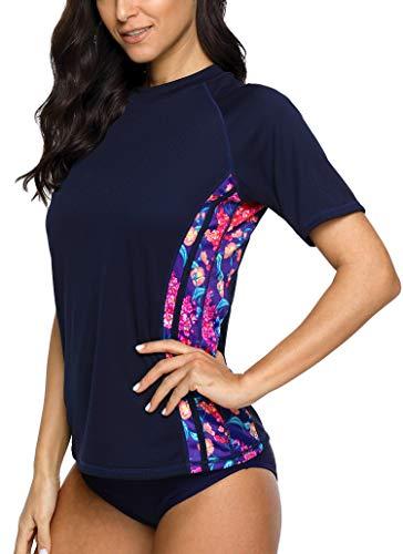 BeautyIn Damen Schwimmshirt Kurzarm UV Shirt Floral Rash Guard Blumen Drucken Badeshirt UPF 50+ Frauen Badeshirts L -