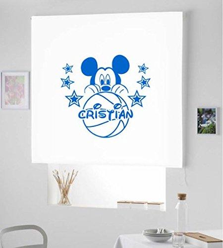 Desconocido Estor Infantil Enrollable TRANSLUCIDO Dibujo Mickey con Nombre. ESTORES Infantiles con Nombre HABITACION NIÑO- (Blanco, 150X175)