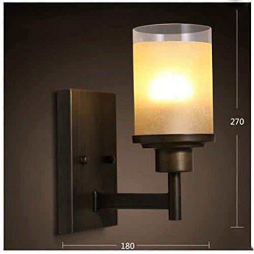 HAIZHEN Wandleuchte amerikanischen Landhausstil Schlafzimmer Wand lampe Europäischen retro Glasgang Wandleuchte mit einem einzigen Kopf Eisen Kerzenhalter (Farbe: D)