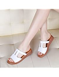 LGK   FA Sommer Damen Sandalen Sandalen Damen Sommer Leder flach mit Damen  Schuhe rutschfeste flache 42f85fe4d2