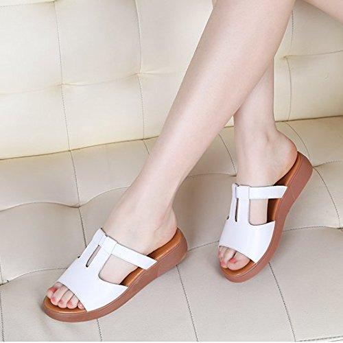 XY&GKSandalen Damen Sommer Leder flach mit Frauen Sandalen Rutschfeste Flachbild Hausschuhe, komfortabel und schön 35 white (slippers)