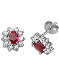 Jewelco London Ladies 18ct White Gold Oval Red 1.8ct Ruby and Round HI I1 52pts Diamond Royal Cluster Stud Earrings