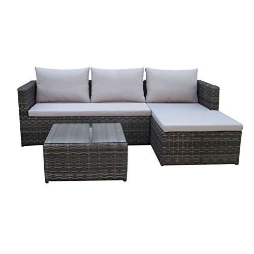 Günstige Rattan Lounge grau, kompakt, ideal für Balkon, kl. Terrasse Loungemöbel