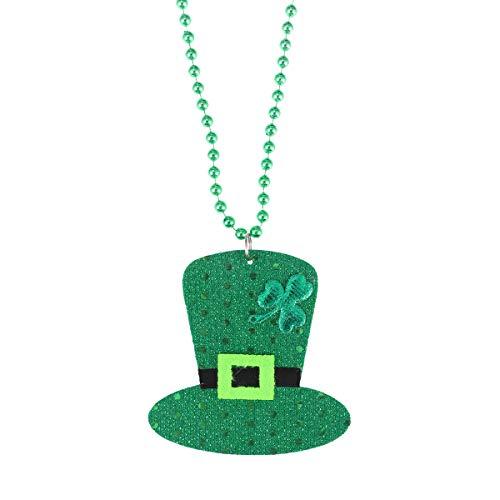 Amosfun St. Patrick's Day Halskette Irish Perlen Kobold Hut Halskette St. Patrick's Day Geschenke für St. Patrick's Day Party gefallen (große Größe, grün)