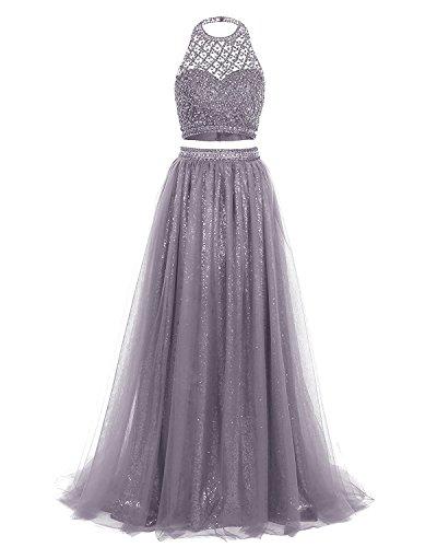 Ysmo Frauen 2 Stück Perlen Halfter Abendkleid Lange Tüll Sequin Abendkleid (Prom Kleider Stock Länge)