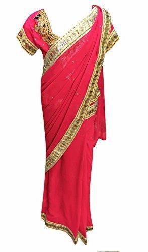 Kinder Mädchen Bereit Zu Tragen Made Saree Hochzeit 1217 (26 (5-6 Jahre), - Crimson Kinder Kostüm