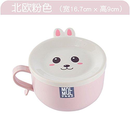ShouYu Edelstahl Home Japanische cartoon Bento Reis E 373 Kreative cute abgedeckt Soup Bowl von Instant Nudeln cup instant noodle Bowl, den Nordischen Rosa -