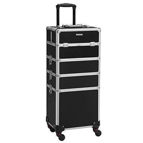 SONGMICS Kosmetikkoffer, professioneller Make-up Koffer, 4-in-1 Schminkkoffer für Reisen, großer Trolley für Friseure, abschließbar, mit um 360° drehbaren Universalrollen, schwarz JHZ11BK