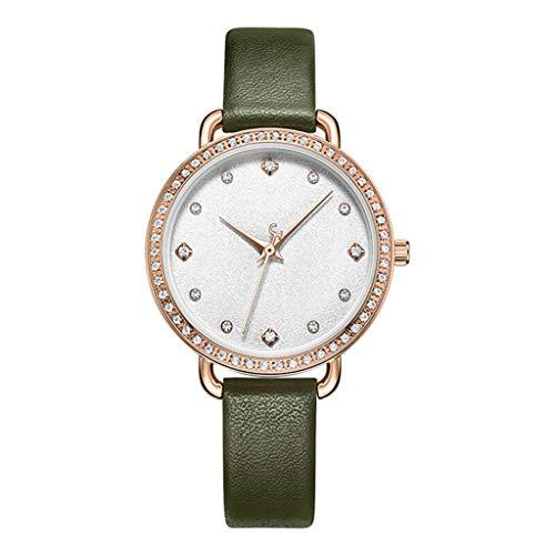 Dyfzxy Damenuhr Sport Casual Uhr Mode Quarz Uhr Wasserdicht Rosa/Grün/Lila/Silber/Licht Kaffee (Farbe : B)