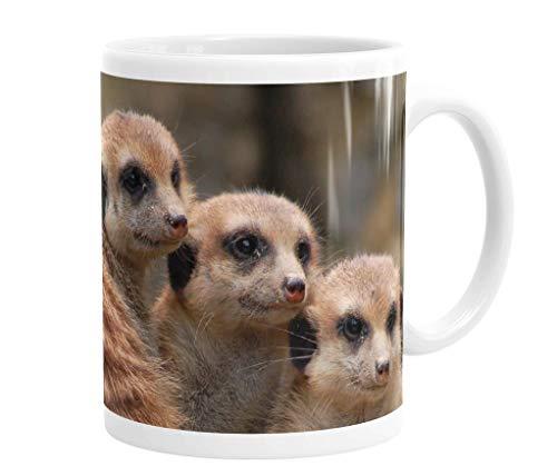 Becher / Tasse / Kaffeebecher / Kaffeepott aus Keramik - 330 ml Motiv: Erdmännchen Familiengruppe ( 03 )