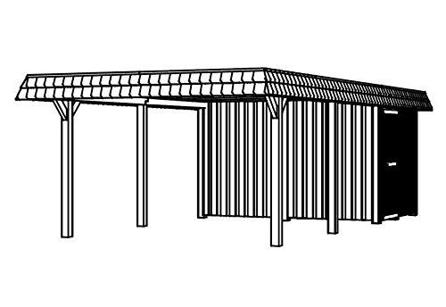 SKAN HOLZ Europe Gmbh Skan Holz Carport Wendland 409 x 870 cm mit Abstellraum mit roter Blende