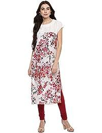 Shivansh Cream PolyCrepe Rose Printed Straight Kurtas For Woman