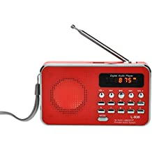iMinker portátil Mini Digital Puerto del disco de tarjetas USB FM altavoz de radio Medios reproductor de música MP3 TF / SD para la PC iPod Teléfono con pantalla LCD y la batería recargable (rojo`)