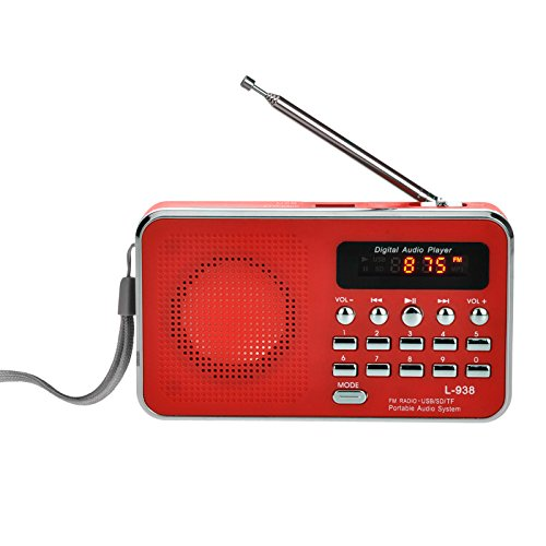 iMinker Mini Digital Portatile Music Player Radio FM dell'altoparlante di mezzi MP3 Port TF / SD USB Disk per PC iPod Phone con display a LED e batteria ricaricabile (Rosso)