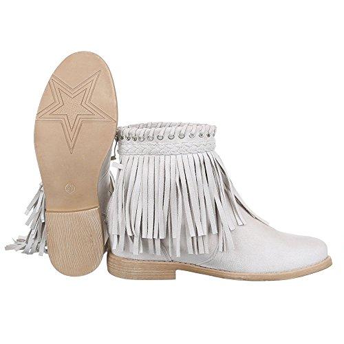 Damen Schuhe, B10393, STIEFELETTEN BOOTS MIT FRANSEN Beige