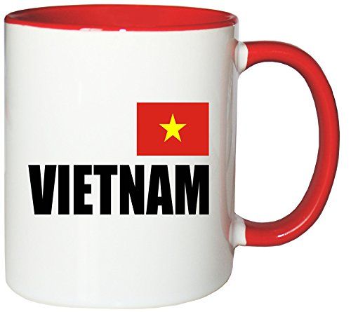 Mister Merchandise Kaffeetasse Vietnam Fahne Flag Teetasse Becher, Farbe: Weiß-Rot