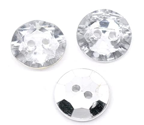 25 x Large 25mm Plastic Crystal Faux Diamond Round Buttons with 2 Sewing Holes. For Clothes Bling and Jewellery Crafts .